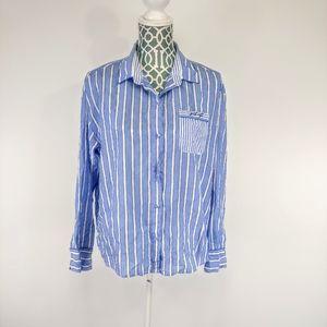 Stars above blue stripe button down sleep shirt